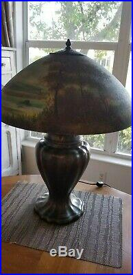 Rare Handel Reverse and Obverse Painted Scenic Lamp Antique Vintage
