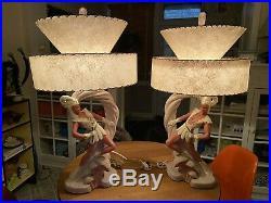 Rare Set Of Vintage Chalkware Lamp Mid Century Ceramic Retro 50s Moss Elf Large