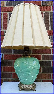 Rare Vintage Hollywood Regency Art Deco Stangl Pottery Lamp Flying Swallows