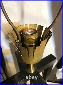 Rare Vintage Pair Brass & Wood Black Table Lamps Mid Century Modern Work