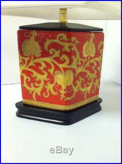 Red Oriental Table Lamp Gold Vintage Japanese Asian Design Porcelain Light Decor