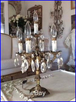 SHABBY Vtg ANTIQUE Candelabra prism Lamp Table Chandelier French Italian