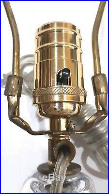 Simon Pearce Fabulous Rare Vintage Blown Crystal Glass Table Lamp Signed 21 3/4