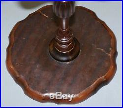 Small Vintage Mahogany Tripod Lamp Side End Wine Table Ornately Turned Column
