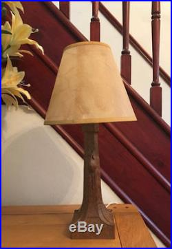 Solid Carved Oak 1950s Vintage Robert Thompson Mouseman table lamp + New Shade
