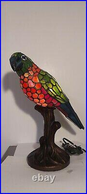 Stained Glass Parrot Lamp Tiffany Style vintage