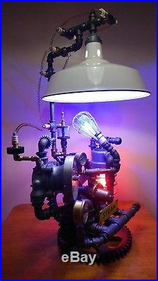 Steampunk Industrial Table Lamp Vintage One Of A Kind Authentic Art