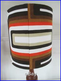 Stunning Vintage Retro 60's/70's Solid Teak Wood Table Lamp + Large Retro Shade