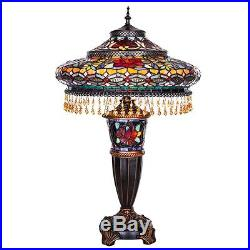 Table Lamp 2 Light Lit Base Stained Glass Tiffany Vintage Style Bronze Finish