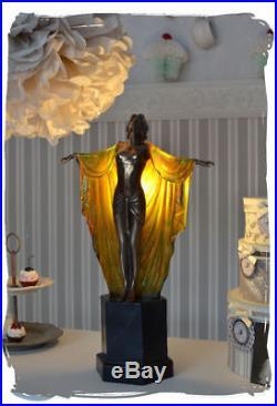 Table Lamp Art Deco Female Figure Femme Fatale Vintage