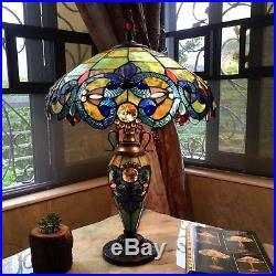 Table Lamp Stained Glass Shade 2 Light Lit Base Tiffany Style Vintage 18 D