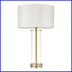 Table Lamp Touch Dimmer. Glass, Vintage White Shade and Gold Effect 570mm