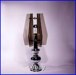 Table Lamp Vintage Italian Design Mid Century 60s Glass Chrome Fontana Arte Veca