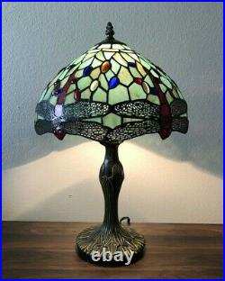 Tiffany Style Table Lamp Green Stained Glass Dragonfly Antique Vintage W12H19