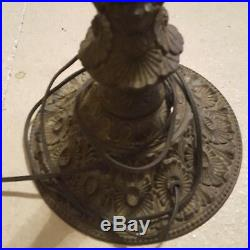 Tiffany Vintage 1910 Bronze Stained Blue Glass Table Lamp Rare Antique