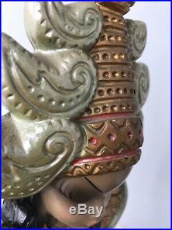 True Vintage Damaged Retro Tretchikoff Thai Lady Table Lamp Kitsch Chalkware