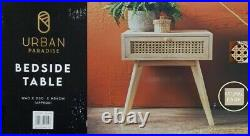 Urban Paradise Bedside Table Vintage Cane Side Table Cabinet Lamp Table -Natural