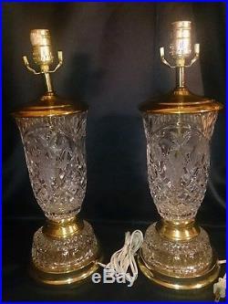 Vintage 18 Pair Crystal Clear Industries Cut Glass Prism Hollywood Regency Lamp Vintage Table Lamp