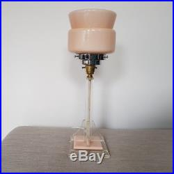 VINTAGE 1930s ART DECO LUCITE TABLE DESK LAMP LIGHT PINK