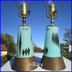 VINTAGE 1950's TRANSLUCENT FIBERGLASS RETRO MATERIAL TURQUOISE DIAMOND MCM LAMPS