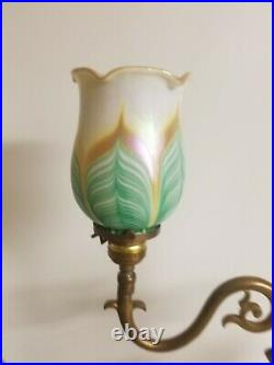 VINTAGE ART NOUVEAU DOUBLE ARM Table LAMP With PULLED FEATHER SHADES
