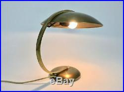VINTAGE BAUHAUS BRASS TABLE LAMP by HILLEBRAND MID CENTURY