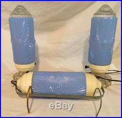 VINTAGE Glass Art Deco Lamps Light Bullet Pair Vanity Satin Blue Torpedo Boudoir