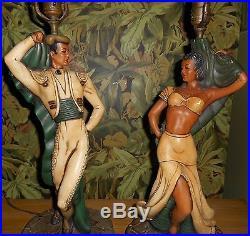 VINTAGE Matador & Spanish Dancer Plasterart Table Lamps Deco Hollywood Regency