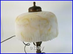 VINTAGE SMALL SLAG GLASS Table Desk Nightstand Lamp Weeping Willow 13.5 Tall