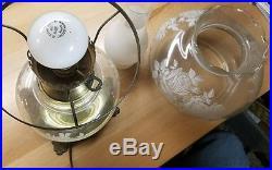 VINTAGE antique clear GLASS FLORAL ROSE HURRICANE LAMPS 21 brass base