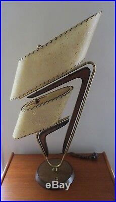 VTG. 1950's MAJESTIC Z TABLE LAMP ORIGINAL FIBERGLASS SHADES A BEAUTY 35