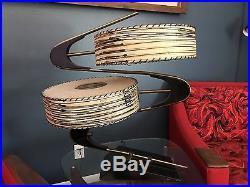 VTG 50s MAJESTIC Z BOOMERANG LAMP FIBERGLASS SHADES MID CENTURY MODERN RETRO
