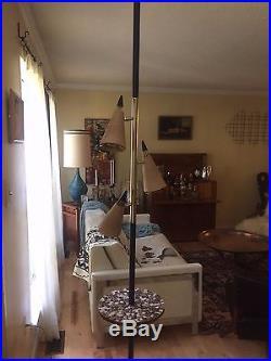 VTG 60s MOE TENSION POLE FLOOR LAMP side tile table mid century modern light
