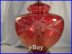VTG Bohemian Cut cranberry Table lamp Glass Crystal Prism Hollywood Regency