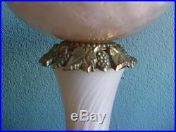 VTG HOLLYWOOD REGENCY 1950s MURANO ITALIAN ART GLASS MARBLE PINK LAMPS BOUDOIR