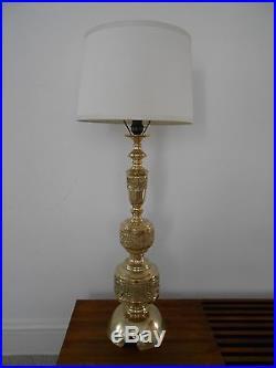 VTG Hollywood Regency Brass Table Lamp James Mont Era Mid Century Modern