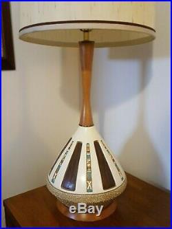 VTG Mid Century Modern BERTOLOZZI Eames Teak & Ceramic Table Lamp