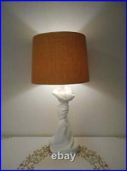 VTG Mid Century Pair Knotted Drape Plaster Table Lamps John Dickinson Era #37