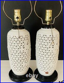 VTG Pair Hollywood Regency Reticulated Blanc De Chine Cherry Blossom Lamps