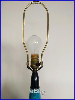 Vintage1960s Mid Century Helmut Bruchman for Haeger Blue Lava Glaze Pottery Lamp