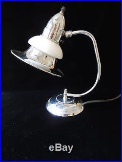 Vintage 1930's Art Deco Chrome and Milk Glass Desk Table Lamp