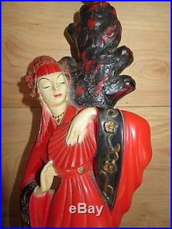 Vintage 1950's Beautiful Oriental Asian pair of Chalkware Lamps With Shades 28H