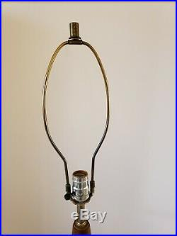 Vintage 1950's Mid Century Modern Teak Cone Design Eames Era Danish Table Lamp