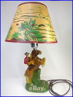 Vintage 1950s Roy Rogers & Trigger Table Lamp with Shade