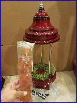 Vintage 1960's Fox Red Oil Rain Lamp with Rose Greek Goddess 32 Table Model