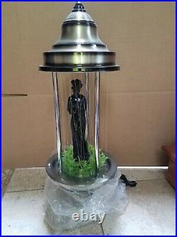 Vintage 1960's Fox Silver Oil Rain Lamp with Black Greek Goddess 32 Table Model