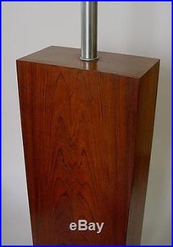 Vintage 1960s Walter Von Nessen Rosewood Table Lamp Mid Century Modern