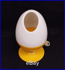 Vintage 1971 Mid-Century Yellow Plastic Egg Table Lamp Space Age C. N Burman