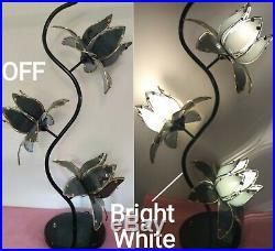 Vintage 3 Light Lotus Flower Table Lamp, Gray Smoke Glass, Brass, Black Base