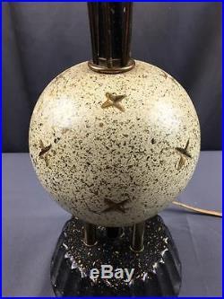 Vintage 50s Brass & Plaster 2 Tier Shade Atomic Sputnik Lamp Mid Century Modern